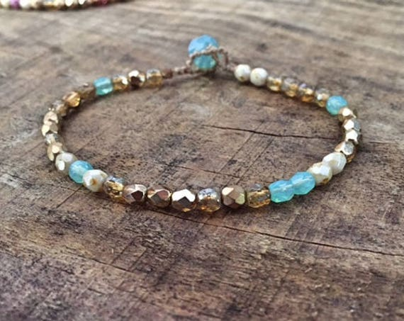 Gold Beaded Bracelet, Boho Luxe Bracelet, Aqua and Gold, Made in France