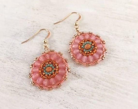 Gold Dangle Earrings. Earrings for Women. Floral Earrings. Pink Boho Earrings. Beaded Earrings. Pink Gold Earrings. Gift for Her. Under 50