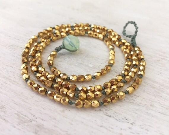 Gold Beaded Bracelet. Dainty Bracelet for Women. Gold Wrap Bracelet. Dainty Gold Necklace. Teen Girl Jewelry. Minimalist Jewelry. Under 50