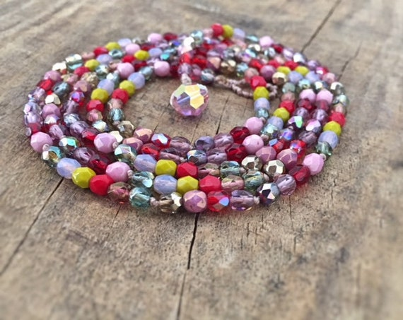 Colorful Wrap Bracelet. Beaded Bracelet. Glass Beaded Bracelet. Wrap Bracelet for Women. Beaded Necklace. Colorful Necklace. Boho Necklace