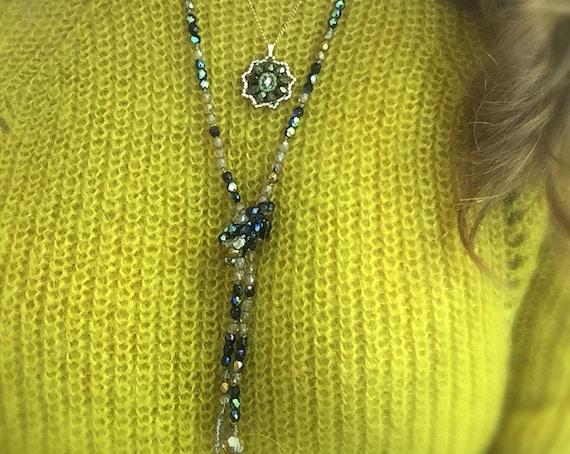 Golden Black Necklace. Sparking Necklace. Long Necklace. Beaded Necklace. Necklace for Women. Boho Necklace. Wrap Bracelet. Glass Necklace