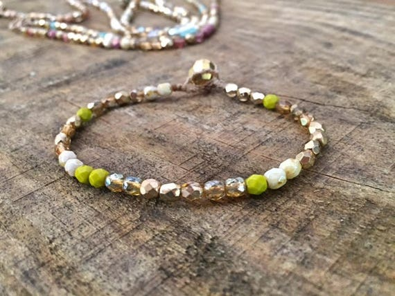 Minimalist Beaded Bracelet, Gold and Avocado, Boho luxe bracelet, Gift for Her, Girls Bracelet, Bohemian Jewelry