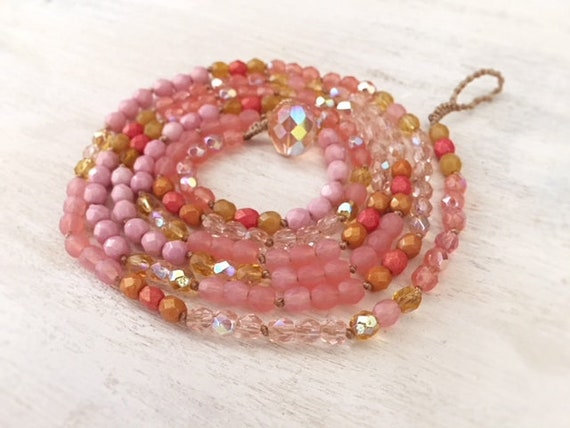Pink Boho Wrap Bracelet. Wrap Bracelet for Women. Beaded Bracelet. Glass Beaded Bracelet. Beaded Necklace. Teen Girl Jewelry. Boho Jewelry