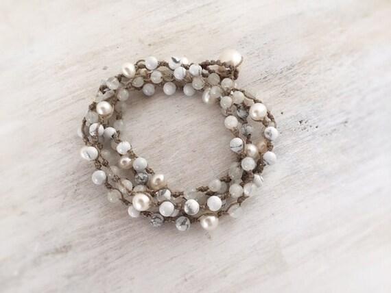 Special Order for Zoe. Wrap Beaded Bracelet. Birthstone Bracelet. Gemstone Bracelet. Boho Chic Bracelet. Artisan Jewelry. Handmade Bracelet
