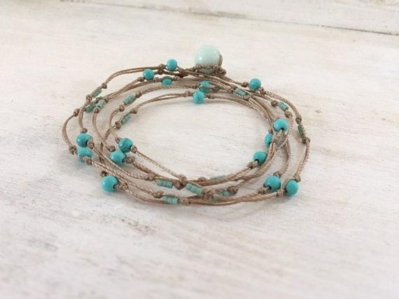 Turquoise Minimalist Bracelet. Wrap Bracelet. Gemstone Bracelet. Minimalist Jewelry. Natural Bracelet. Gift For Her. Turquoise Necklace