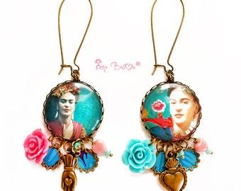 Orecchini Frida Kahlo,Orecchini Pendenti,Orecchini Tessuto,Orecchini Boho,Orecchini Gipsy