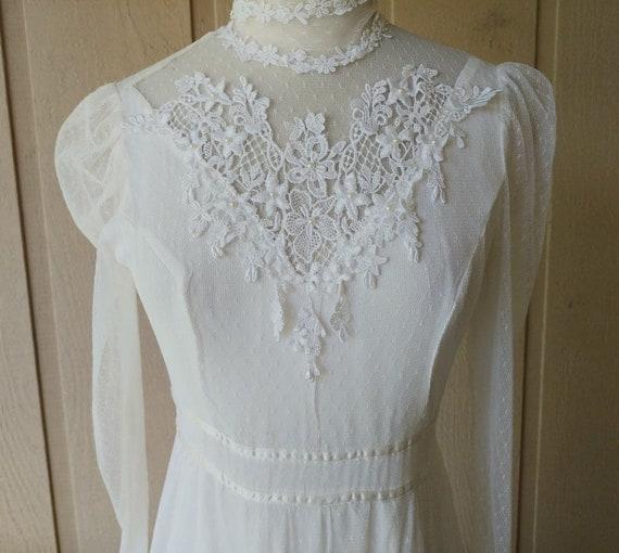Vintage 1970s  Romantic White Lace Gunne Sax Gown - image 1