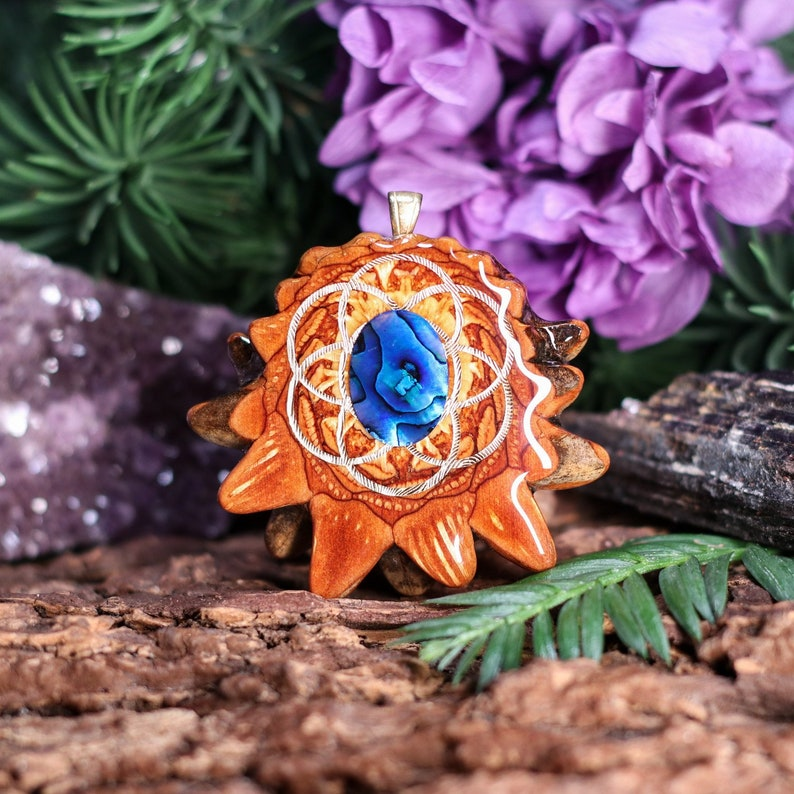 Blue by Third Eye Pinecone Pinecone Pendant with Paua Shell and Gold Seed of Life Medium