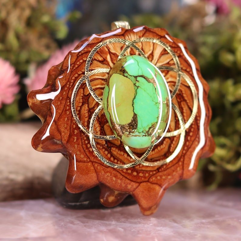 Pinecone Pendant with Turquoise Large Green Mohave by Third Eye Pinecone and Gold Seed of Life