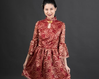 Modern Chinese Cheongsam Qipao Red Lace Dress with Mandarin Collar