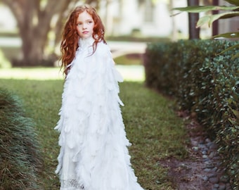 Girl's Size White Ostrich Plume Feather Cape Kids Couture
