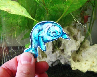 Manatee/Sea cow original illustration badge version 2