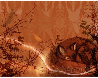 Sleeping Autumnal Fox Amongst Leaves (A3 print)
