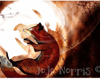 Two Rolling Foxes Autumnal Illustration (A4 Print)