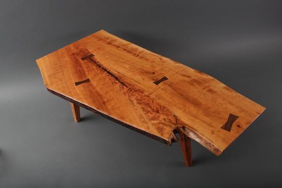 Cherry Coffee Table.Custom Handmade Live Edge Cherry Wood Crotch Slab Coffee Table Walnut Bowties Nakashima
