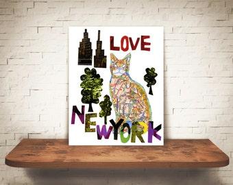 CAT ART-Cat lover-Cat Gift-Cat lover-Cat wall Art-New York cat-Cat Gift-New York Art cat-map cat-Cat New York-CAT home decor-cat New York