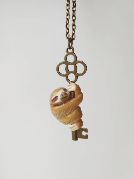 Little Sloth On The Key No5 Hand Sculpted Pendant