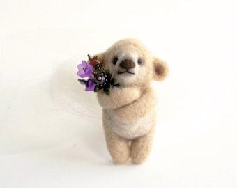 Shy Beige Bear with purple bouqet, Felted Animal Brooch, Bear Jewelry