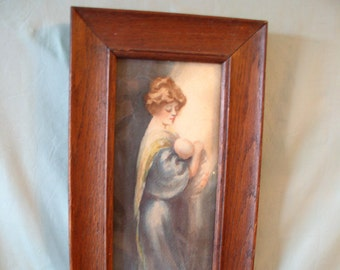 Mother and Child Painting Original Watercolor Painting in Antique Frame