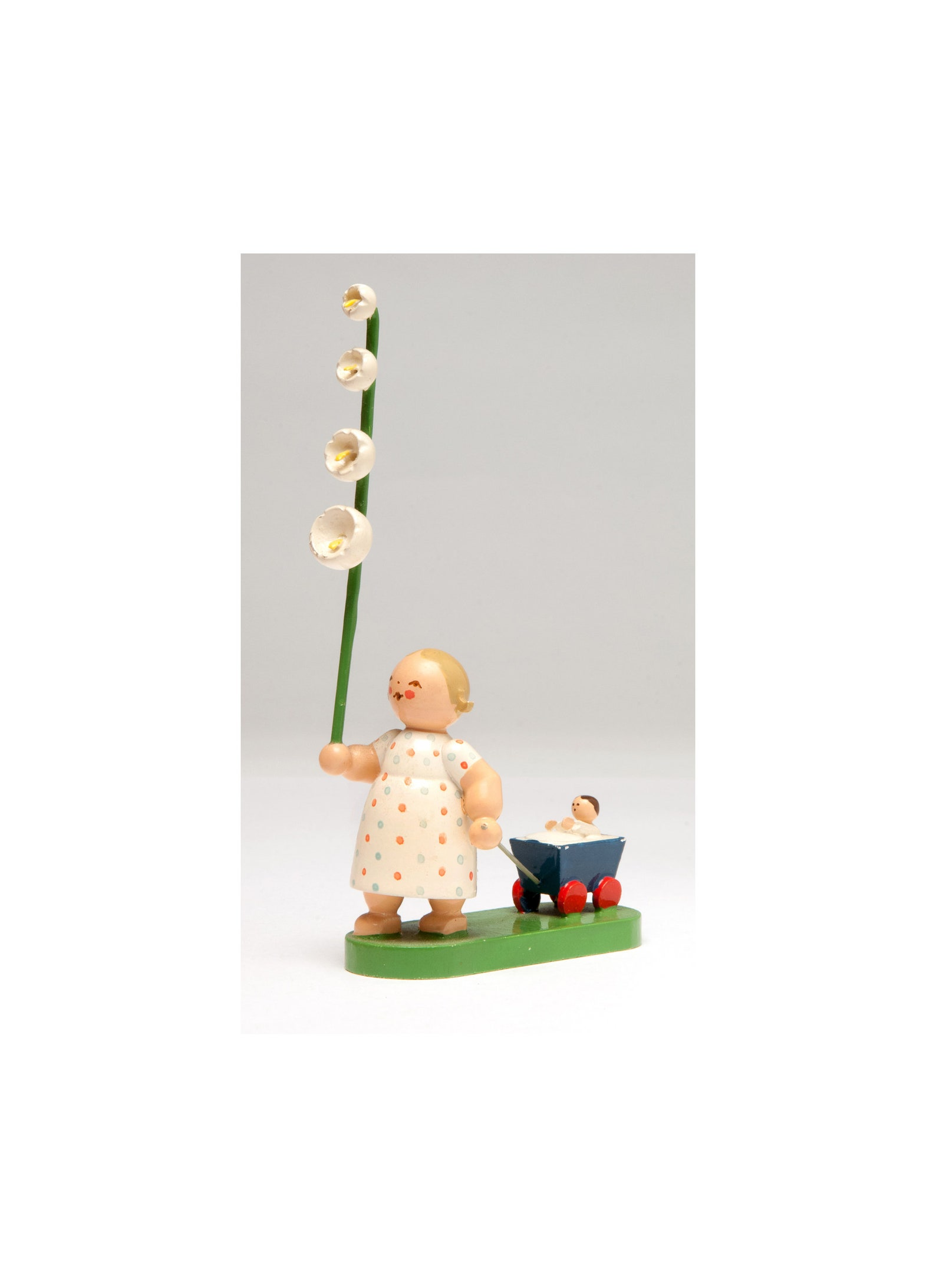 Wendt & Kühn girl (Blossom Kinder) with flower pulling baby in wagon by Wendt and Kühn Erzgebirge folk art hand painted made in Germany