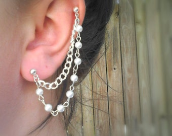 Elegant Pearl Bead and Chain - Cartilage to Lobe Chain Earring