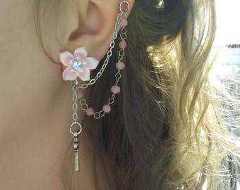 Pink Flower Key-to-My-Heart - Cartilage to Lobe Chain Earring