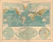 World Map Vintage 1899