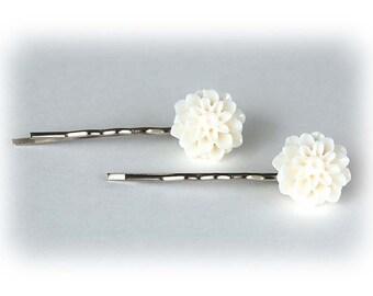 Retro Chic white Crysanthemum bobby pins set of 2