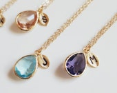 Birthstone necklace, Emerald necklace, Initial necklace, Amethyst necklace, Aquamarine necklace, Rose quarts necklace,Gold necklace,tmj00066