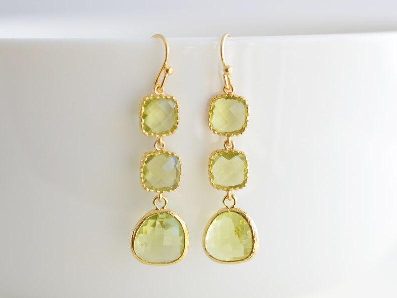 Peridot earrings Gold earrings Wedding jewelry Cocktail jewelry,Clip earrings,Anniversary gift Glass earrings Bridal earrings
