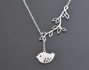 Leaf necklace, Branch necklace, Sparrow necklace, Lariat necklace, Silver necklace, Bridal necklace, Christmas gift, tmj00378