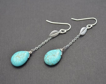 Leaf earrings, Turquoise earrings, Silver earrings, Anniversary gift, Earrings set, Necklace set, Lariat necklace, tmj00038