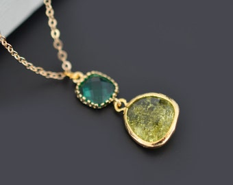 Peridot necklace, Emerald necklace, Gold Necklace, Bridal necklace, Wedding jewelry, Bridesmaid gift, Necklace set, Christmas gift