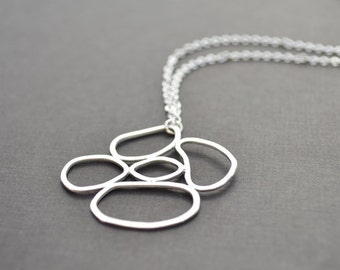 Multi ring connected necklace, Silver necklace, Mothers necklace, Statement necklace,Bridal jewelry,Anniversary gift,Christmas gift