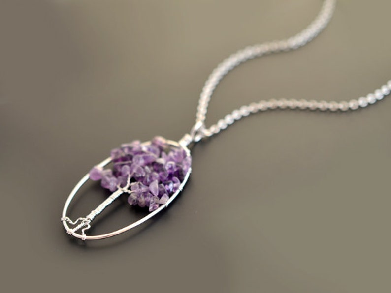 Amethyst necklace Pendant Necklace Gem stone necklaceSilver image 0