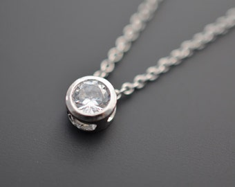 Solitaire necklace, Silver Necklace, Wedding jewelry, Bridal necklace, Delicate necklace, Anniversary gift, Christmas gift,tmj00035