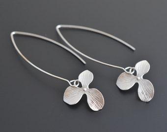 Orchid long earrings, Linear earrings, Hook earrings, Wedding earrings, Bridal earrings, Flower earrings, Silver earrings, tmj00265