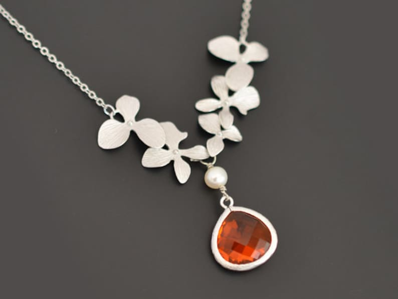 Silver necklace Wedding necklace,Flower girl necklace,Bridal necklace,Pearl necklace,tmj00103 Beautiful orchids pearl and Orange necklace
