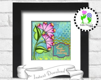 """8x8 Inch """"Clever"""" Doodle Flower Positive Saying Instant Downloadable Art Print"""