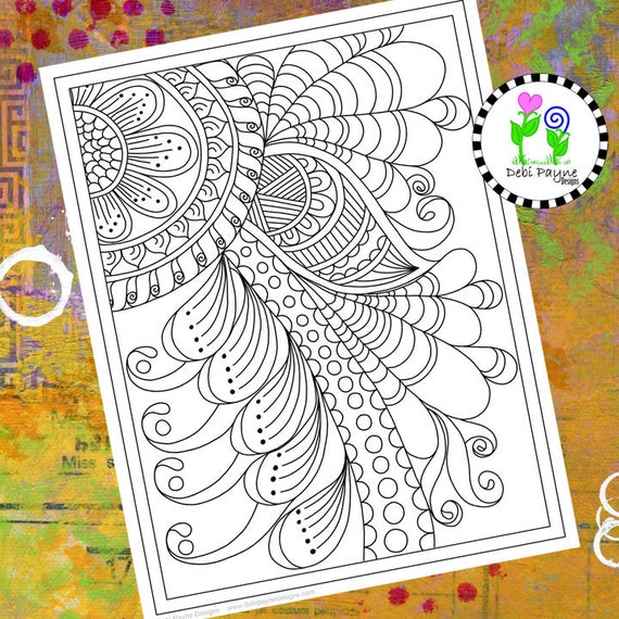Abstract Doodle Design 01 Instant Download Coloring Page