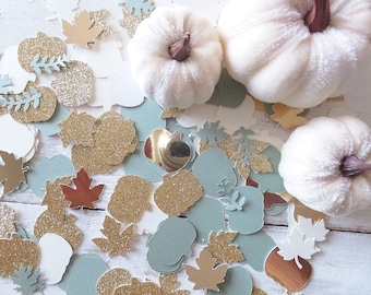 Little Pumpkin CONFETTI ~ Birthday, Wedding, Baby Shower, Thanksgiving Table Scatter ~ Sage Green, Ivory & Gold Pumpkins and Leaves~ 100ct.