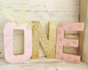 """Pink LITTLE PUMPKIN """"ONE"""" with Gold Glitter Stem ~ 8.25"""" Tall Stand Up Set of 3 Letters ~ Photo Prop / Table Decor ~ Fall 1st Birthday Decor"""