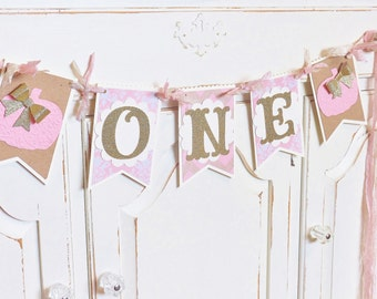 "Little Pumpkin ""ONE"" Birthday Banner ~ Pink Pumpkins with Gold Glitter Bows ~ Smash Cake Photo Prop ~ Fall Decoration ~ High Chair Decor"