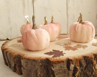 """6 Small Pink Velvet Pumpkins ~ 1.75"""" &  2"""" tall including Stem ~ Fall Baby Shower, Wedding, Birthday, Home Decor ~ Hand Dyed PINK ~ Crafts"""