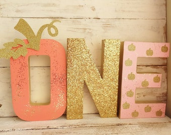 """LITTLE PUMPKIN """"ONE"""" Photo Prop ~ 8.25"""" Tall ~ 3 Stand Up Letters ~ Fall 1st Birthday Party Decor ~ Centerpiece ~ Pink, Coral & Gold Glitter"""