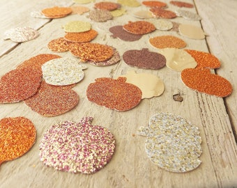 """Fall PUMPKIN Confetti ~ 1"""" Glitter ~ 100+ CT. ~ Autumn Wedding, Baby Shower, Birthday, Thanksgiving Table Scatter/ Decor ~ Fall Colors"""