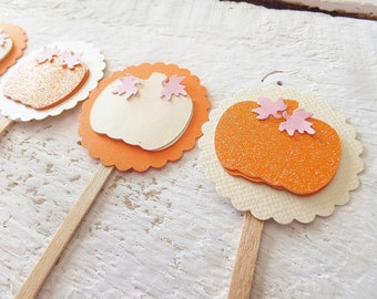 24 Little Pumpkin Cupcake Toppers ~ Baby Showers, Birthday Party, Celebrations ~ Orange & White Pumpkins, Pink Leaves