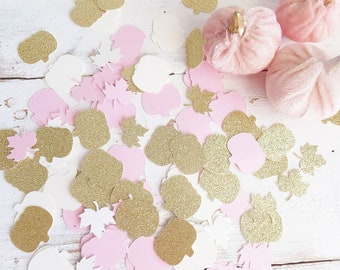 Little Pumpkin CONFETTI ~ Pink Pumpkins and Gold Glitter Pumpkins with Maple Leaves~ 100+ pieces ~ Baby Shower ~ Birthday Party / Wedding