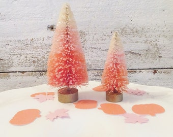 """2 Candy Corn Bottle Brush Trees ~ Glittered Orange, Pink, Natural ~ 3"""" & 4"""" Tall ~ Pink Halloween ~ Doll /Putz House ~ Hand Dyed"""
