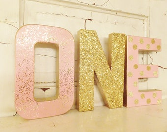 """1st Birthday """"ONE"""" ~ Pink and Gold Glitter ~ Photo Prop ~ Party Decor ~  8"""" Stand Up Letters ~ Set of 3 ~ Table Decor ~ 3 Styles, Choose 1"""